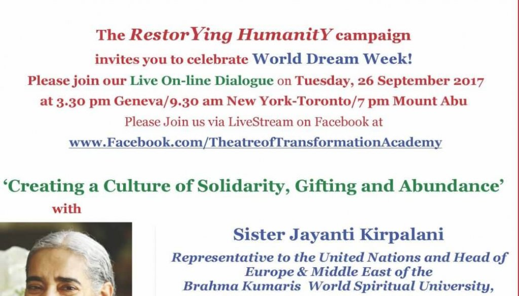 PDF S Invitation Online Transformative Dialogue with Sister Jayanti on 26 Sept World Dream Day WEWorld TofTA BK